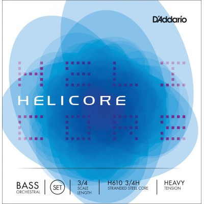 D'ADDARIO AND CO STRING SET FOR DOUBLE BASS ORCHESTRA HELICORE 3/4 FRET FRETBOARD HEAVY TENSION