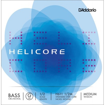 D'ADDARIO AND CO STRING ONLY (G) FOR DOUBLE BASS ORCHESTRA HELICORE 1/2 TENSION NECK MEDIUM