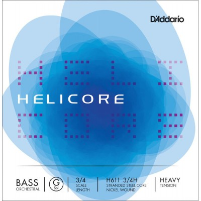 D'ADDARIO AND CO STRING ONLY (G) FOR DOUBLE BASS ORCHESTRA HELICORE 3/4 FRET FRETBOARD HEAVY TENSION