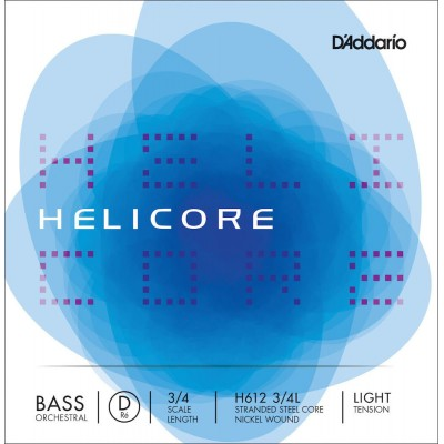 D'ADDARIO AND CO STRING ONLY (RE) FOR DOUBLE BASS ORCHESTRA HELICORE 3/4 FRET FRETBOARD LIGHT