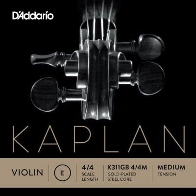 D'ADDARIO AND CO SINGLE STRING (E) GOLD-PLATED FOR VIOLIN KAPLAN EXTREMITY WITH BALL HANDLE 4/4 TENSION MEDIUM