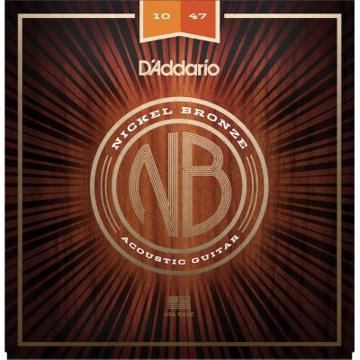 D'ADDARIO AND CO ACOUSTIC GUITAR STRINGS NB1047 NICKEL BRONZE EXTRA LIGHT 10-47