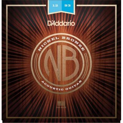D'ADDARIO AND CO ACOUSTIC FOLK STRINGS NB1253 NICKEL BRONZE LIGHT 12 53