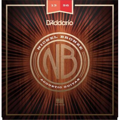 D'ADDARIO AND CO ACOUSTIC GUITAR STRINGS NB1356 NICKEL BRONZE MEDIUM 13-56