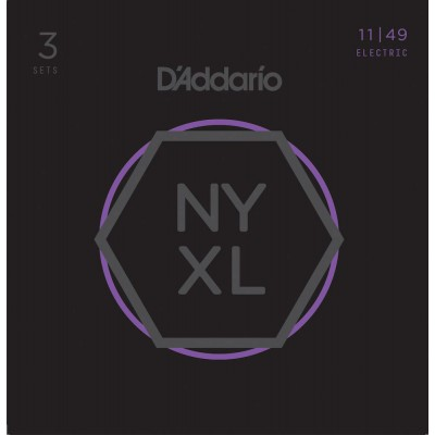 D'ADDARIO AND CO CORDES POUR GUITARE ELECTRIQUE NYXL1149-3P FILET NICKEL MEDIUM 11-49 (3JEUX)