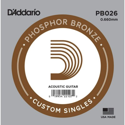 D'ADDARIO AND CO PB026 PHOSPHOR BRONZE WOUND ACOUSTIC GUITAR SINGLE STRING .026