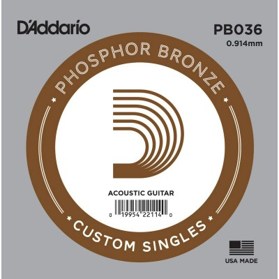D'ADDARIO AND CO PB030 PHOSPHOR BRONZE WOUND ACOUSTIC GUITAR SINGLE STRING .036