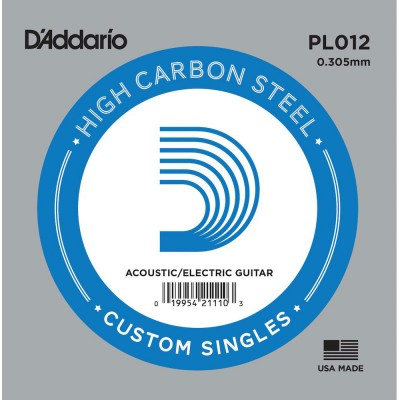 D'ADDARIO AND CO PL012 PLAIN STEEL GUITAR SINGLE STRING .012