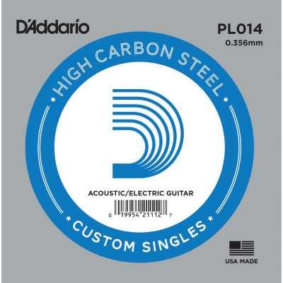 D'ADDARIO AND CO PL014 PLAIN STEEL GUITAR SINGLE STRING .014