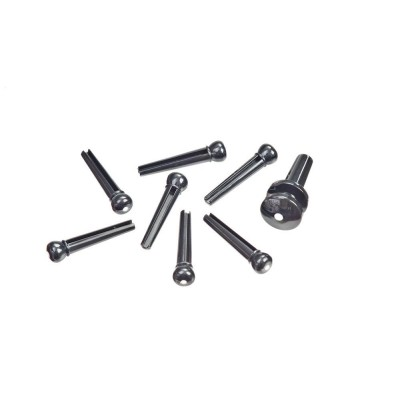 D'ADDARIO AND CO INJECTED MOLDED BRIDGE PINS WITH END PIN SET EBONY WITH IVORY DOT
