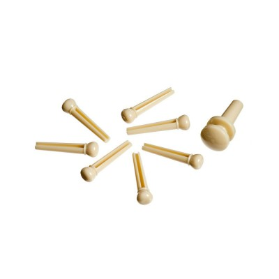D'ADDARIO AND CO INJECTED MOLDED BRIDGE PINS WITH END PIN SET OF 7 IVORY