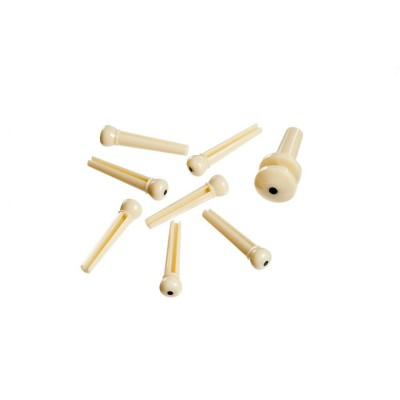 D'ADDARIO AND CO INJECTED MOLDED BRIDGE PINS WITH END PIN SET OF 7 IVORY WITH BLACK DOT