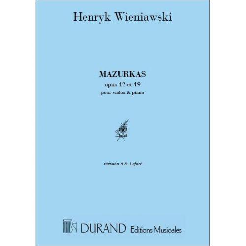 DURAND WIENIAWSKI - MAZURKAS - VIOLON ET PIANO