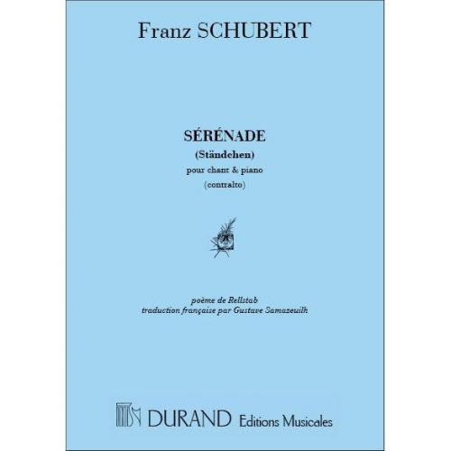 DURAND SCHUBERT F. - SERENADE (VOIX GRAVES) - CHANT ET PIANO