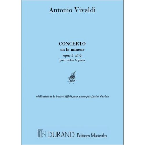 RICORDI VIVALDI A. - CONCERTO OP 3 N 6 EN LA M - VIOLON ET PIANO
