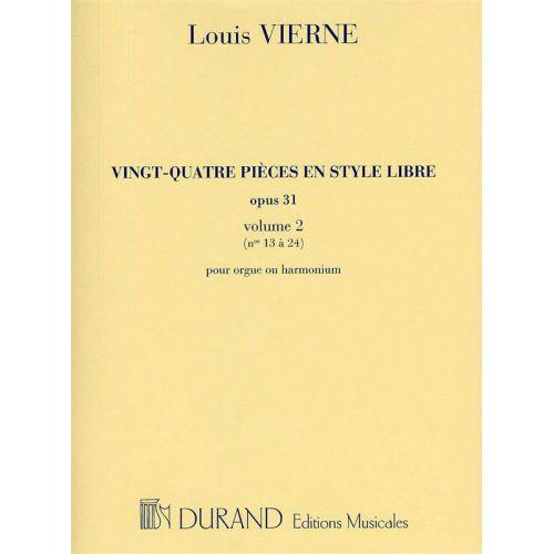 DURAND VIERNE L. - 24 PIECES EN STYLE LIBRE - ORGUE OU HARMONIUM