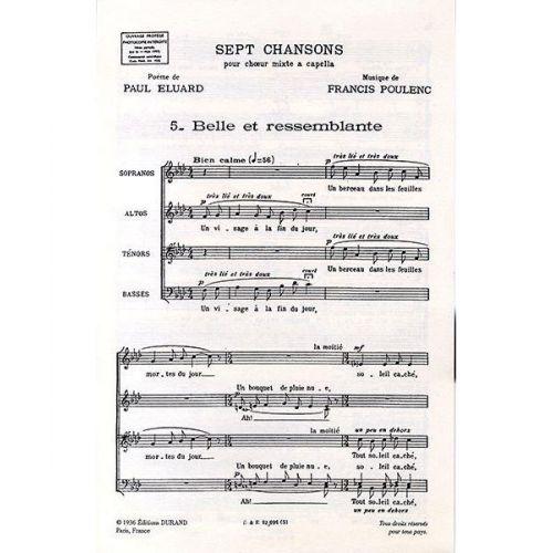 DURAND POULENC F. - BELLE ET RESSEMBLANTE - CHOEUR