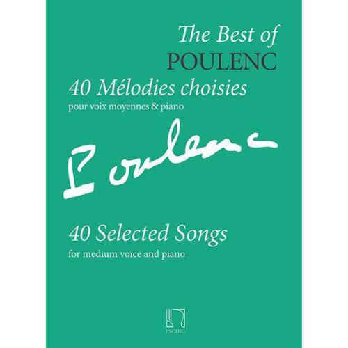 EDITION MAX ESCHIG POULENC F. - 40 MELODIES CHOISIES POUR VOIX MOYENNES & PIANO