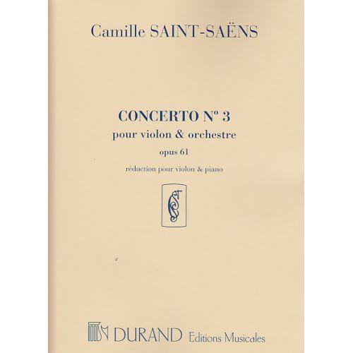DURAND SAINT-SAENS CAMILLE - CONCERTO N°3 OP.61 - VIOLON, PIANO