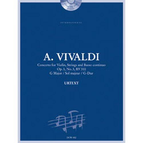 DOWANI VIVALDI A. - CONCERTO OP. 3 N°3 RV 310 IN G-MAJOR - VIOLON, CORDES, BC