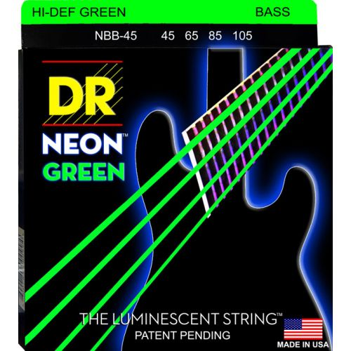 DR NGB-45 NEON GREEN BASS 45-105 MEDIUM 4 STRINGS