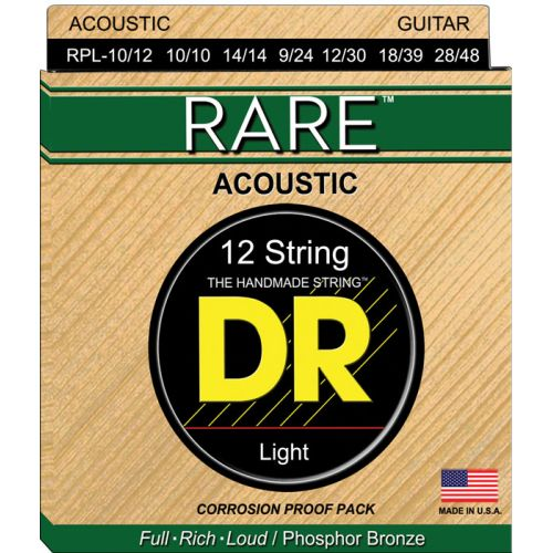 DR RPL-10/12 RARE PHOSPHORE BRONZE ACOUSTIC 12 LITE STRINGS