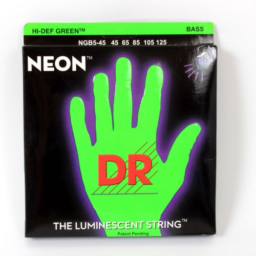 DR NGB5-45 NEON GREEN BASS 45-125 MEDIUM 5 STRINGS