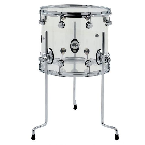 DW DRUM WORKSHOP FLOOR TOM DESIGN ACRYLIC CLEAR 14