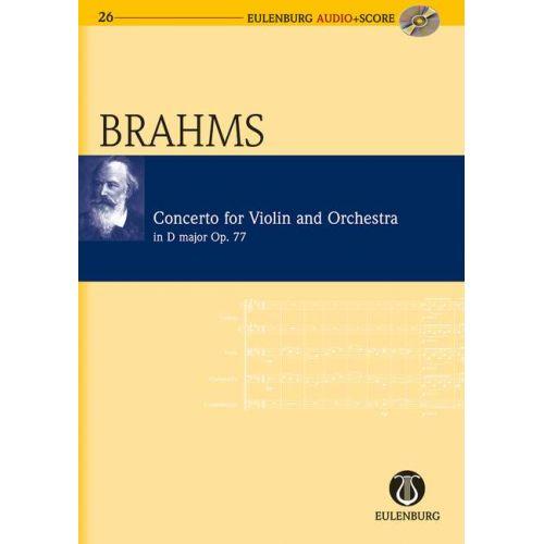 EULENBURG BRAHMS JOHANNES - CONCERTO D MAJOR OP. 77 - VIOLIN AND ORCHESTRA