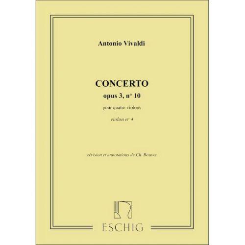 EDITION MAX ESCHIG VIVALDI - CONCERTO OP 3 N 10 - VIOLON IV