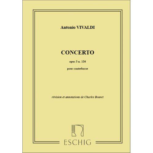 EDITION MAX ESCHIG VIVALDI - CONCERTO OP 3 N 10 - CONTREBASSE