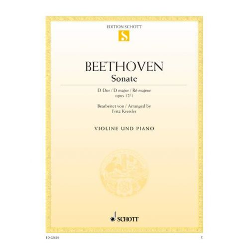 SCHOTT BEETHOVEN L.V. - SONATE D MAJOR OP. 12/1 - VIOLIN AND PIANO