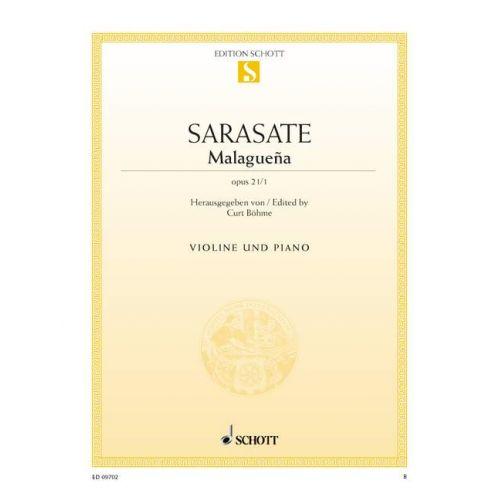 SCHOTT SARASATE Y NAVASCUEZ MARTIN MELITON - MALAGUEÑA OP. 21/1 - VIOLIN AND PIANO