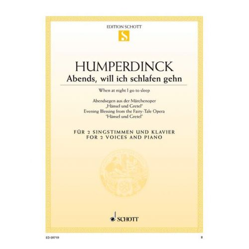 SCHOTT HUMPERDINCK ENGELBERT - EVENING BLESSING - SOPRANO, MEZZO-SOPRANO AND PIANO