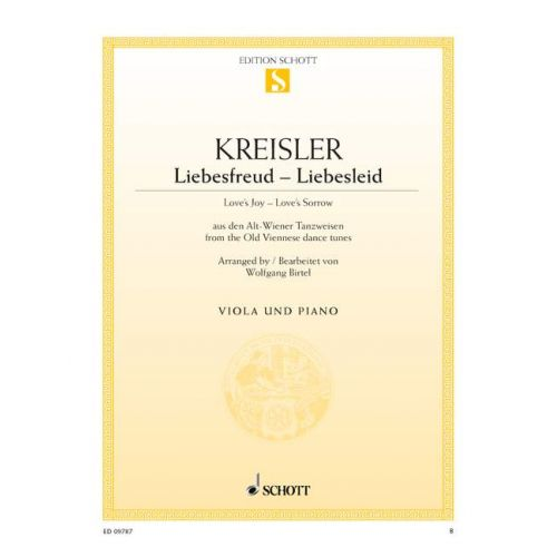 SCHOTT KREISLER FRITZ - LOVE'S JOY - LOVE'S SORROW - VIOLA AND PIANO