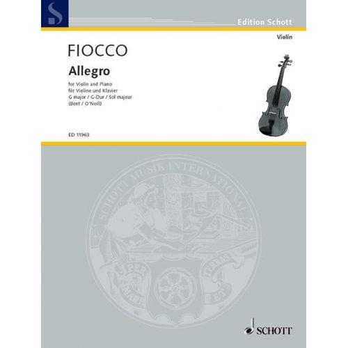 SCHOTT FIOCCO JOSEPH-HECTOR - ALLEGRO SOL MAJEUR - VIOLIN AND PIANO