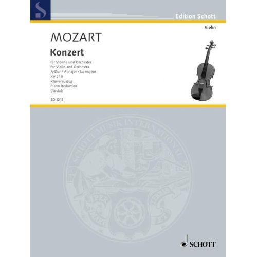 SCHOTT MOZART W.A. - CONCERTO A MAJOR KV 219 - VIOLIN AND ORCHESTRA