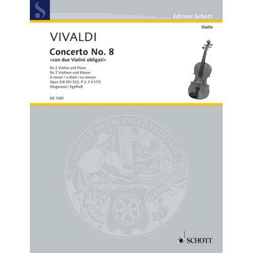 SCHOTT VIVALDI A. - L'ESTRO ARMONICO OP. 3/8 RV 522, P 2, F I/177 - 2 VIOLINS, STRING ORCHESTRA AND ORGAN