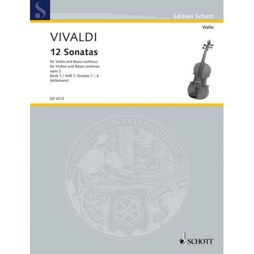 SCHOTT VIVALDI ANTONIO - TWELVE SONATAS OP 2 HEFT 1 - VIOLIN AND BASSO CONTINUO; CELLO AD LIB.