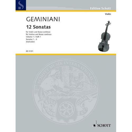 SCHOTT GEMINIANI FRANCESCO - 12 SONATAS OP 1 BAND 1