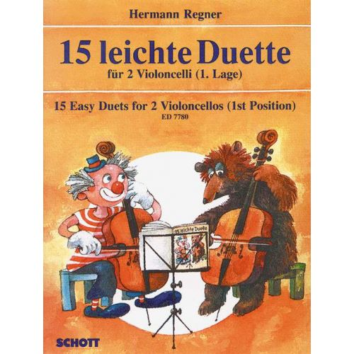 SCHOTT REGNER HERMANN - 15 EASY DUETS - 2 CELLOS