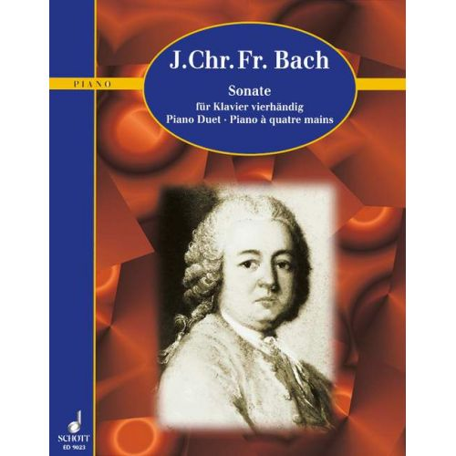 SCHOTT BACH JOHANN CHRISTOPH FRIEDRICH - SONATA A MAJOR - PIANO 4-HAENDIG