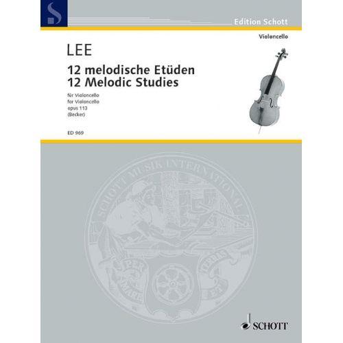 SCHOTT LEE SEBASTIAN - TWELVE MELODIC STUDIES OP 113 - CELLO