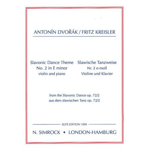 SIMROCK DVORAK ANTONIN - SLAVONIC DANCE THEME - VIOLIN AND PIANO