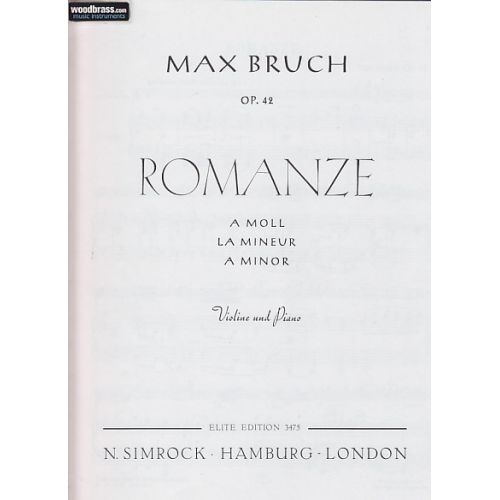 SIMROCK BRUCH MAX - ROMANCE IN A MINOR OP.42 - VIOLIN (VIOLA) AND ORCHESTRA
