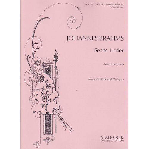 SIMROCK BRAHMS JOHANNES - SECHS LIEDER - VIOLONCELLE ET PIANO