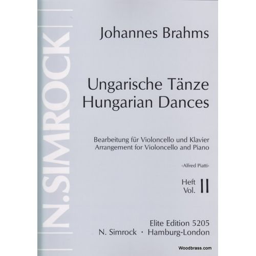 SIMROCK BRAHMS JOHANNES - HUNGARIAN DANCES VOL.2 - CELLO AND PIANO