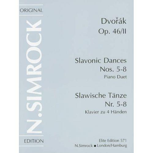SIMROCK DVORAK ANTONIN - SLAVONIC DANCES OP 46 BAND 2 - PIANO (4 HANDS)