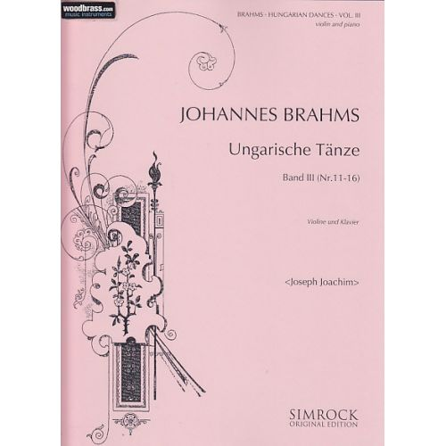 SIMROCK BRAHMS JOHANNES - HUNGARIAN DANCES VOL.3 - VIOLIN AND PIANO