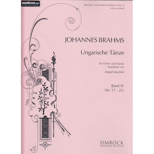 SIMROCK BRAHMS JOHANNES - HUNGARIAN DANCES VOL.4 - VIOLIN AND PIANO